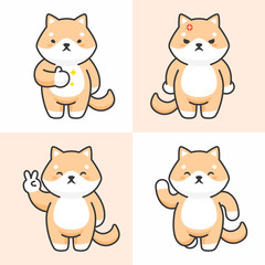 Vector set of cute shiba inu dog characters