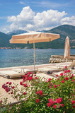 Summer beach vacation.  Montenegro, Adriatic Sea, view of Bay of Kotor near Tivat city