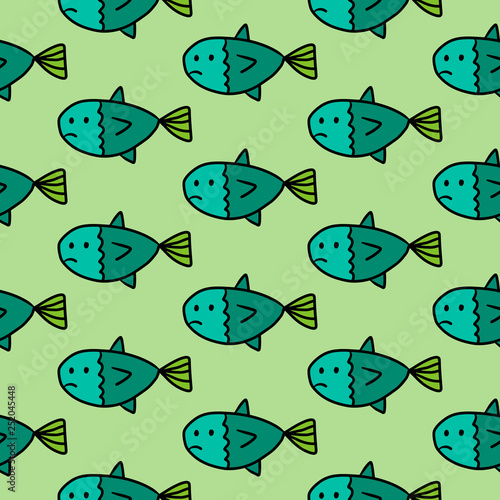 Sad fish hand drawn seamless pattern in green colors