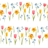 Watercolor spring floral vector pattern - 252047010