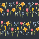 Watercolor spring floral vector pattern - 252047075