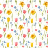 Fototapeta Tulipany - Watercolor spring floral vector pattern © zenina