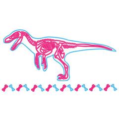 Velociraptor light neon skeleton vector illustration. Fossil cartoon