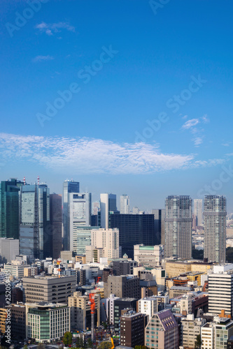 obraz lub plakat Landscape of tokyo city skyline in Aerial view with skyscraper, modern office building and blue sky background in Tokyo metropolis, Japan.