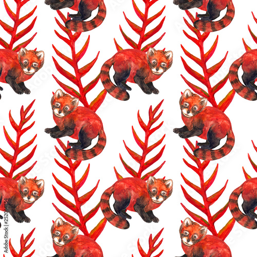 Seamless watercolor pattern. Hyperrealistic nature of the tropics of Asia - red panda and red plant © Elena