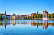 Leinwanddruck Bild - Lake Pfaffenteich with view on the old town in Schwerin. Mecklenburg-Vorpommern, Germany