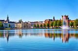 Lake Pfaffenteich with view on the old town in Schwerin. Mecklenburg-Vorpommern, Germany
