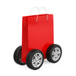 Shopping Bag on Wheels Isolated