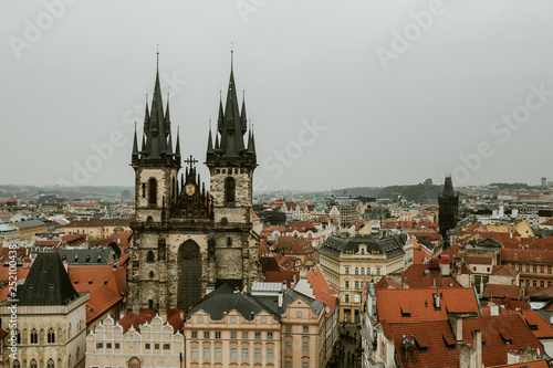 obraz lub plakat View over the city from the Clock Tower - Prague, Czech Republic