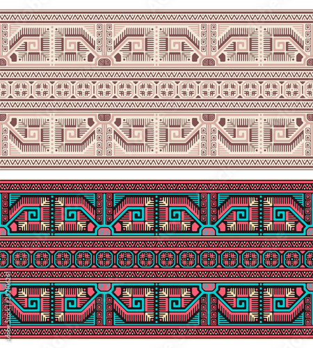 Seamless geometric ethnic patterns. Bulgarian, Central European style.  Different color groups. - 252106261