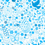 Seamless pattern of eggs, flowers, cakes, hare, hen, chicken and other Easter symbols, blue on white