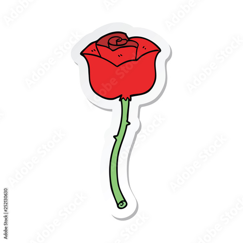 sticker of a cartoon rose - 252130630