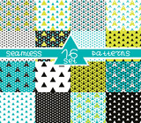 Set of sixteen triangular seamless geometric patterns. Seamless abstract triangle geometrical background. Modern Infinity geometric pattern. Vector illustration. - 252133284