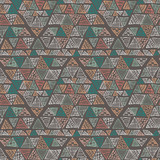 Hand drawn colorful triangle seamless pattern with green, pink, blue, orange details. Doodle triangles on brown. Triangular geometrical background. Repeating geometric tiles. Vector illustration. - 252133627