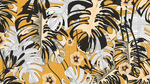 Tropical plants and yellow flower background pattern-vector © mmustafabozdemir