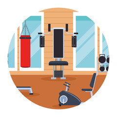 gym landscape round icon