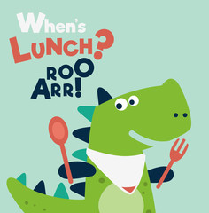 Cute dinosaur with spoon and fork