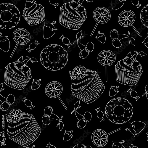 obraz PCV vector illustration pattern cupcakes sweets
