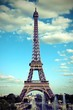Paris in France and the Eiffel Tower  with old toned effect