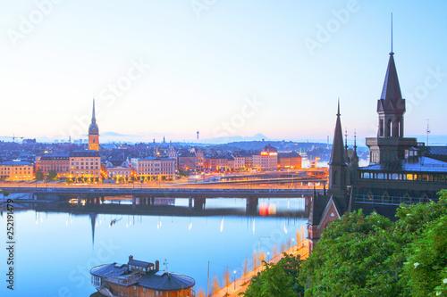Leinwandbild Motiv Scenic evening panorama of Stockholm, Sweden