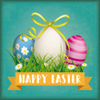 Happy Easter Eggs Grass Ribbon Green Vintage