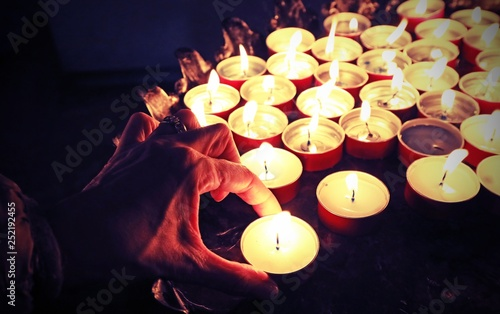 Hand of Woman and candles