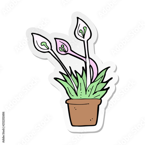 sticker of a cartoon orchid plant - 252202686