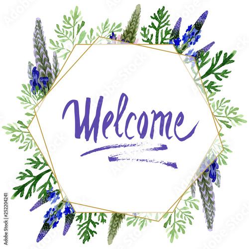 Blue violet lavender floral botanical flower. Watercolor background illustration set. Frame border ornament square. - 252204241