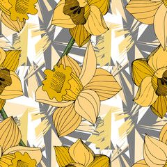 Vector Yellow Narcissus floral botanical flower. Engraved ink art. Seamless background pattern.