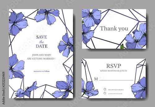 Vector Blue Flax floral botanical flower. Engraved ink art. Wedding background card floral decorative border. - 252220469