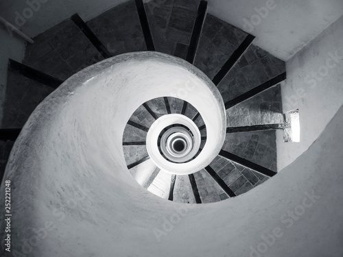 Spiral Staircase step wooden handrail Architecture details Indoor Building perspective