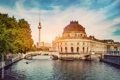 German Bode Museum and River Spree at sunset.