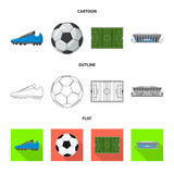 Fototapeta Sport - Vector design of soccer and gear sign. Set of soccer and tournament stock vector illustration. © Svitlana
