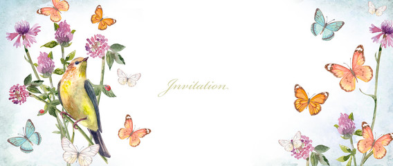 horizontal banner with a pretty bird in meadow flowers. watercolor painting © Aloksa