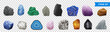 Realistic Stone Transparent Icon Set