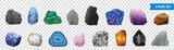 Fototapeta Kamienie - Realistic Stone Transparent Icon Set © macrovector
