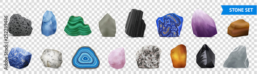 Realistic Stone Transparent Icon Set