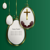Green Easter composition with silhouettes of white eggs with a gold border,