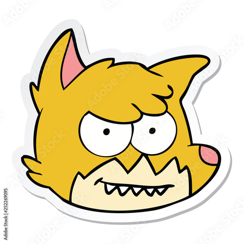 sticker of a cartoon fox face - 252269095