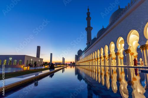 obraz lub plakat Sheikh Zayed Grand Mosque in Abu Dhabi near Dubai at night, United Arab EMirates