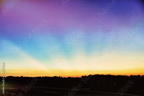 Digital Art Sunrise with Copy Space and Textured Effects