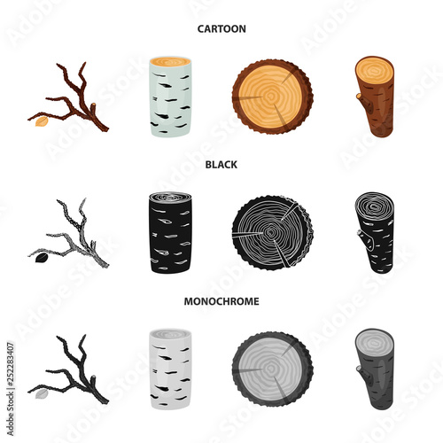 Vector illustration of tree   and raw  icon. Collection of tree   and construction stock vector illustration.