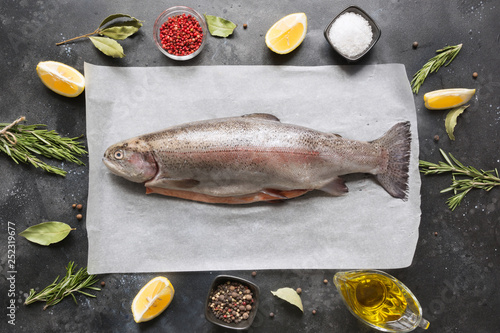 Leinwandbild Motiv Delicious trout with herbs, spices on grey background. Healthy food. Cooking concept.
