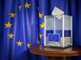 Ballot box with European Union EU flag. - 252323881