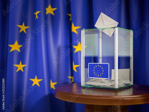 Leinwanddruck Bild Ballot box with European Union EU flag.