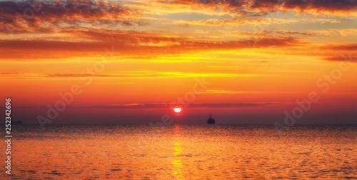 Beautiful sunrise over the sea - 252342696