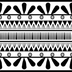 ancient maya tribal ethnic seamless pattern with black and white color vector illustration for fashion textile print and wrapping