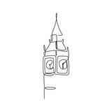 Fototapeta Big Ben - Big Ben clock tower continuous one line drawing minimalist design vector illustration © ngupakarti