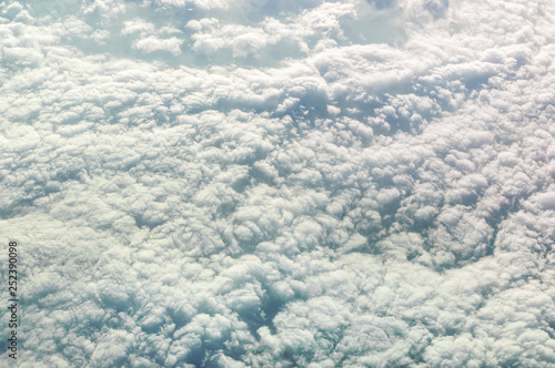 Fluffy clouds. Aerial view. - 252390098