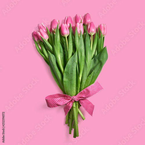 obraz lub plakat Bukiet różowych tulipanów